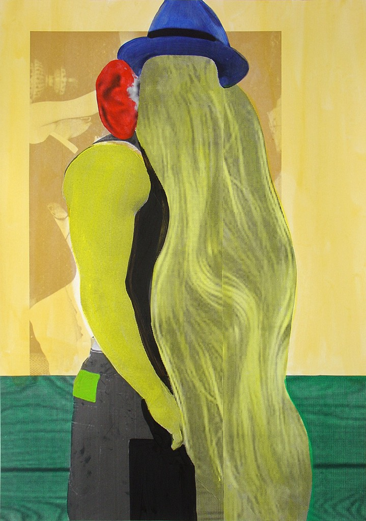Klaus Killisch, hippie guy, 2005, acryl paint, collage on paper, 140x100cm, Nationalgalerie/Hamburger Bahnhof, Berlin