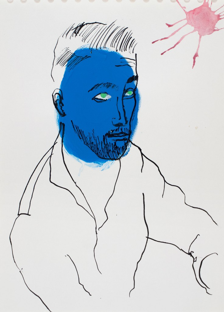 Klaus KIllisch, portrait, 2015, ink on paper, 30 x 21 cm